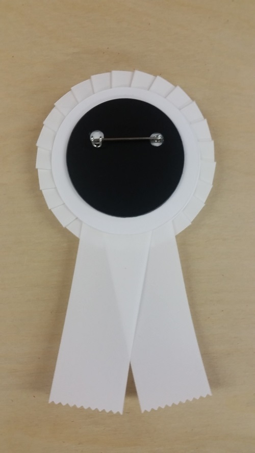 pinback rosette badge with pin on back with your custom logo for any special occasion, promotional product